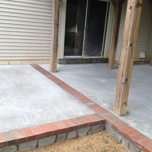 Concrete Patio with Stone Face and Brick Borders in Dale City, VA - Wright's Concrete