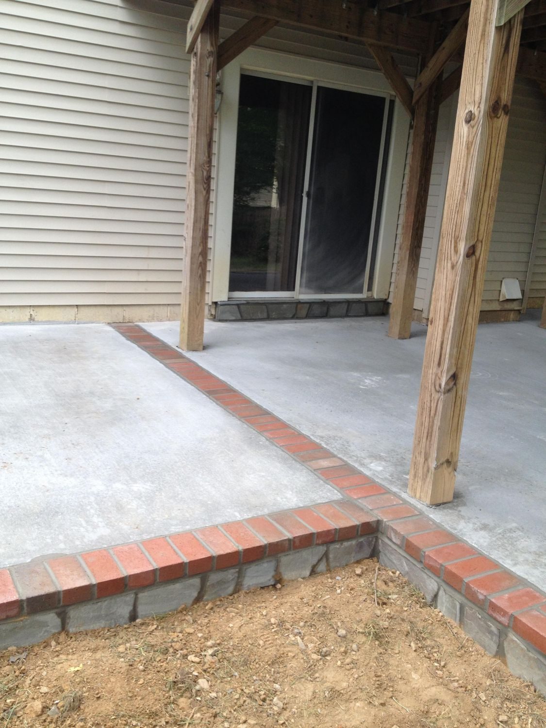 Concrete Patio With Stone Face And