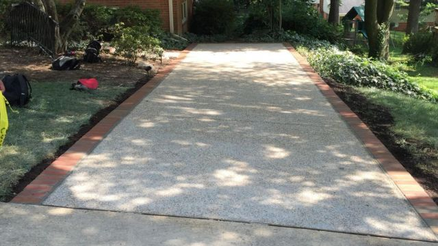Exposed Aggregate and Brick Steps in Springfield VA - Wright's Concrete