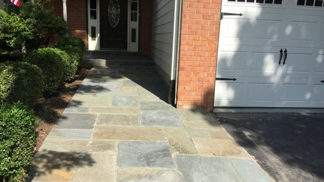 Blue Pattern Blue Front Entryway and Sidewalk with Concrete Base in North Springfield, VA - Wright's Concrete
