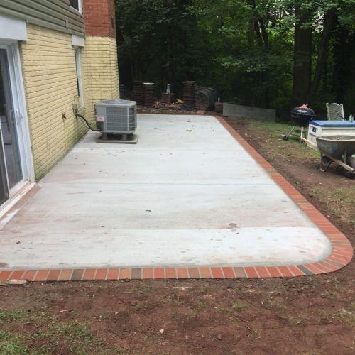 Concrete Patio with Brick Borders in Herndon, Virginia - Wright's Concrete