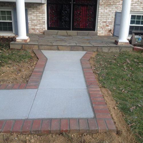 Concrete Driveway and Brick Lined Path in Reston, VA - Wright's Concrete