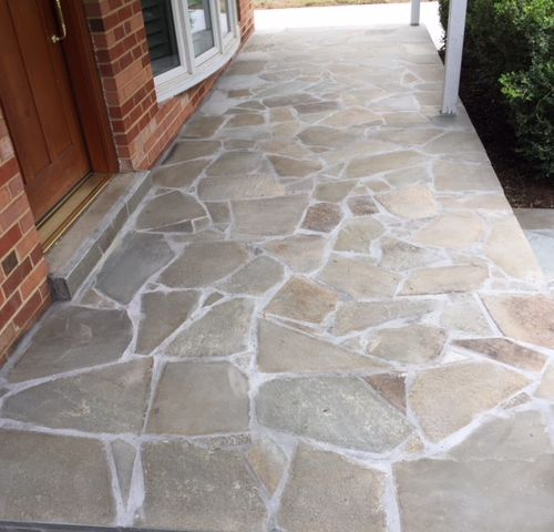 Concrete Driveway, Front Entryway Pennsylvania Variegated Flagstone, in Fairfax VA - Wright's Concrete