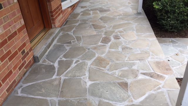 Concrete Driveway, Front Entryway Pennsylvania Variegated Flagstone, in Fairfax VA - Wright's Concrete