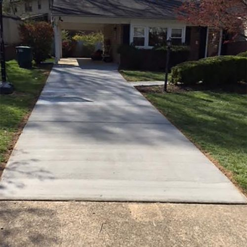 Block Wall and Exposed Aggregate Patio with Concrete Driveway in Vienna, VA - Wright's Concrete