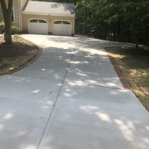 Concrete Driveway and Sidewalk with Brick Borders, Alexandria, Virginia - Wright's Concrete