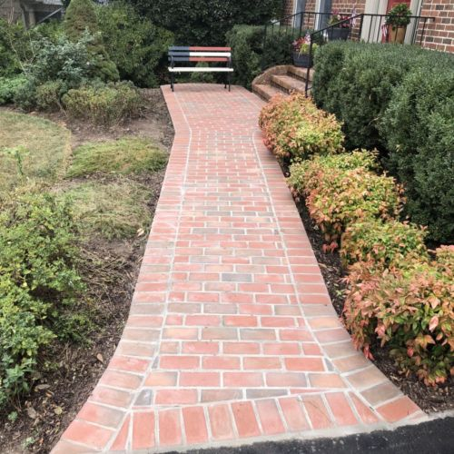 Brick Sidewalk with Concrete Base in Reston, Virginia - Wright's Concrete